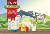 Landscape with dairy products. — Stock Vector