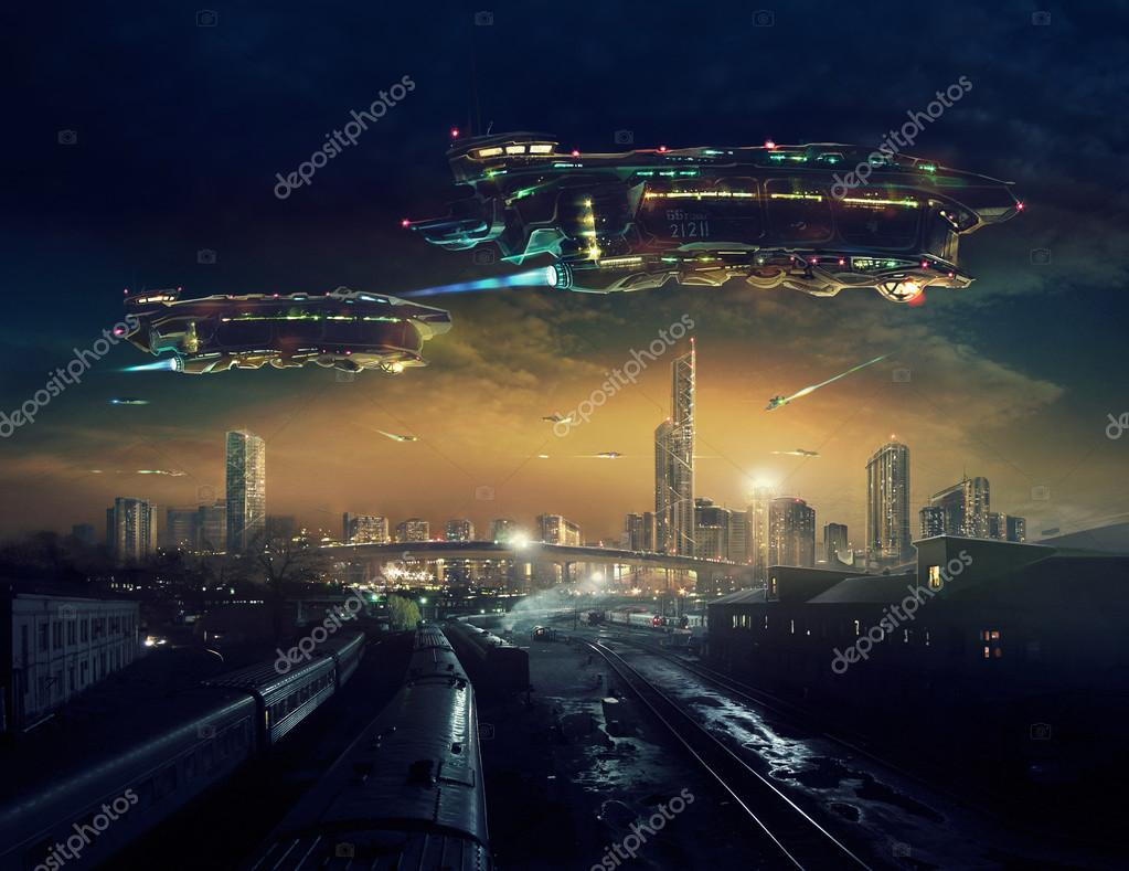 Urban post apocalyptic landscape with flying spaceships ...