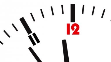 Animated clock. Last seconds to 12 o'clock — Stok video