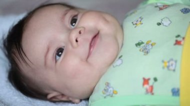 Close up of smiling baby's face. FullHD (1080p) video — Stock Video