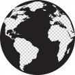 Постер, плакат: Black and white globe with transparency continents