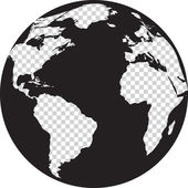 Black and white globe with transparency continents — Stock Vector