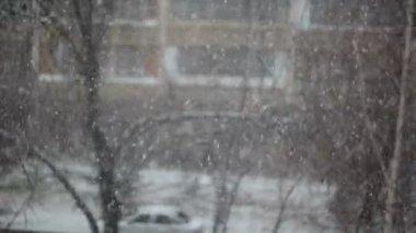 Ansicht der Schneefall in der Stadt — Stockvideo