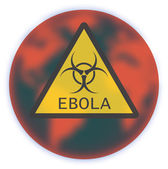 Map of Earth with sign Ebola Virus — Stock Vector