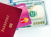 Passport, dollars bills and credit card — Stock Photo