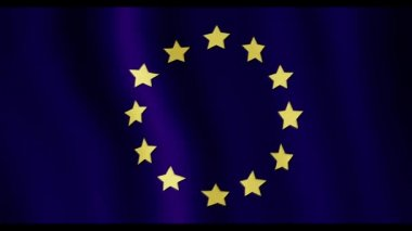 Video of animation of evolving in the wind flag of the European Union — Stock Video