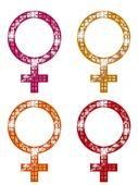 Glittering FEMALE Symbols — Stock Vector