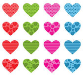 Pattern Filled Hearts — Stock Vector