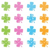 Pattern Filled Clovers — Stock Vector