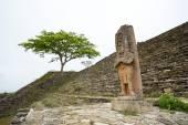 Statue of ruler Jaguar Bird Peccary in Tonina Chiapas Mexico — Stock Photo