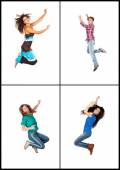 Four young people jumping — Stock Photo