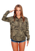 Casual woman with shirt and doing military salute — Stock Photo