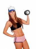 Attractive woman with dumbbells training  — Stock Photo