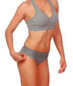 Sexy body woman with grey underwear — Stock Photo