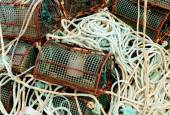 Ropes and octopus traps at the port — Stock Photo
