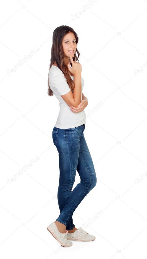 Длинноволосая красивая девушка в джинсах бесплатно фото фото 484-75