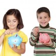 Four funny children with money-boxes — Stock Photo #56827647