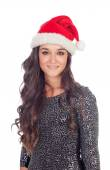 Brunette girl with Christmas hat — Stock Photo