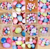 Sequence of many photos with colourful eggs  — Stock Photo
