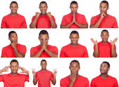 Latin man with different gestures.  — Stock Photo
