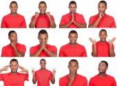 Latin man with different gestures.  — Stok fotoğraf