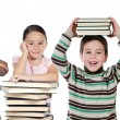 Four children with many books — Stock Photo #58429395