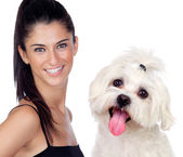 Attractive brunette woman with her little dog — Stock Photo