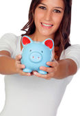 Attractive casual girl with moneybox  — Stock Photo