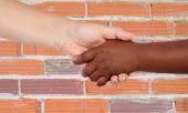 Handshake between races — Stock Photo