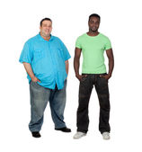 African man with fat man — Stock Photo