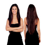 Brunette girl with black dress front and back — Stock Photo