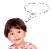 Surprised baby girl thinking something — Stock Photo