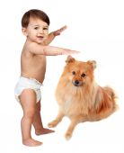Baby in diaper with a brown dog — Stock Photo