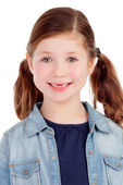 Funny little girl toothless with  pigtails — Stock Photo