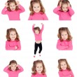 Постер, плакат: Sequence of images of a pretty girl with different gestures