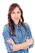 Pretty girl with denim shirt — Stock Photo