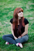 Rebellious teenager girl with red hair — Stock Photo