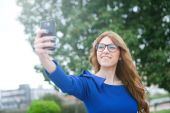 Young woman making selfie — Stock Photo