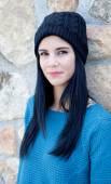 Brunette girl in woolen hat — Stock Photo