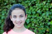 Happy preteen girl with blue eyes smiling — Stock Photo