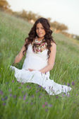 Happy and relaxed pregnant woman — Stock Photo