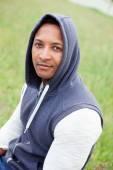 Afroamerican guy on a park — Stock Photo