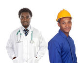 Two african worker men — Stock Photo