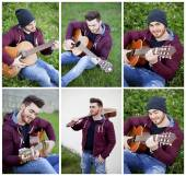 Cool boy playing the guitar in the park — Stock Photo