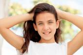 Girl with blue eyes smiling — Stock Photo