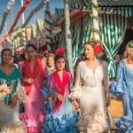 Women in flamenco style dress — Stock Photo #54793601