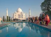 Indian people at Taj Mahal — Stock Photo