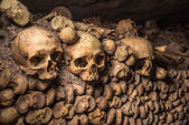 Skulls in Paris Catacombs — Stock Photo