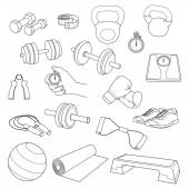 Hand drawn set of fitness accessories. Dumbbells, exercise ball, jump rope, stopwatch, the stopwatch hand, expander, yoga mat, step platform, sneakers, boxing gloves, scales, tape measure. — 图库矢量图片