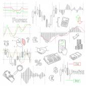 Forex market hand drawn vector background with business, financial data and diagrams — Stock Vector